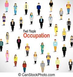 okupacja, różny, zganiać, ludzie