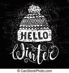 olá, inverno, texto, e, tricotado, woolen, cap., sazonal,...