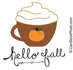 olá, outono, abóbora, tempero, café