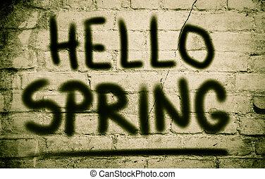 olá, primavera, conceito