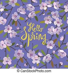 olá, primavera, floral, fundo, para, estação mola, com, florescer, macieira, branches., promoção, oferta, com, floral, decoration.