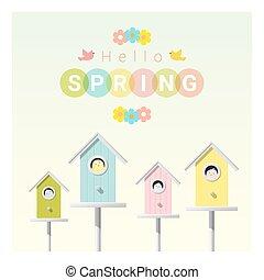 olá, primavera, fundo, com, pequeno, pássaros, em, birdhouses, 1