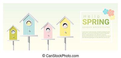 olá, primavera, fundo, com, pequeno, pássaros, em, birdhouses, 5