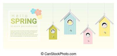 olá, primavera, fundo, com, pequeno, pássaros, em, birdhouses, 6
