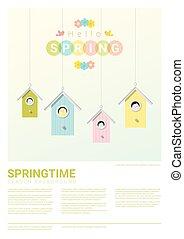 olá, primavera, fundo, com, pequeno, pássaros, em, birdhouses