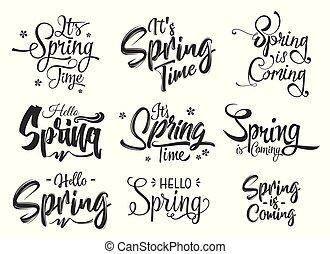 olá, primavera, mão, lettering, jogo