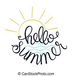 olá, summer., vetorial, ilustração, de, sol, ícone, e, mar