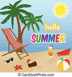 olá, verão, cartaz, desenho