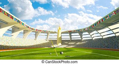 olímpico, -, estádio, disciplinas, lançamento