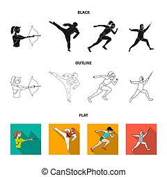 olímpico, fencing., iconos, karate, símbolo, web., estilo, colección, bitmap, conjunto, deporte, ilustración, tiro al arco, corriente, negro, acción