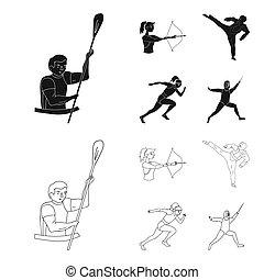 olímpico, fencing., iconos, karate, símbolo, web., estilo, colección, bitmap, conjunto, deporte, ilustración, tiro al arco, negro, corriente, acción