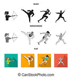 olímpico, fencing., plano, iconos, karate, símbolo, web., estilo, colección, bitmap, conjunto, deporte, ilustración, tiro al arco, negro, monocromo, corriente, acción