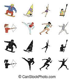 olímpico, fencing., tiro al arco, iconos, karate, símbolo, web., estilo, colección, bitmap, conjunto, deporte, ilustración, negro, corriente, acción