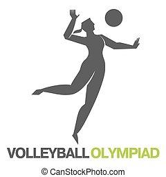 olímpico, games., voleibol