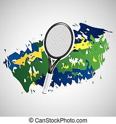 olímpico, tenis, colores, bandera, juegos, brasileño, ...