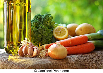 olívaolaj, és, vegetables.