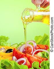 olívaolaj, folyik, és, egészséges, friss növényi, saláta