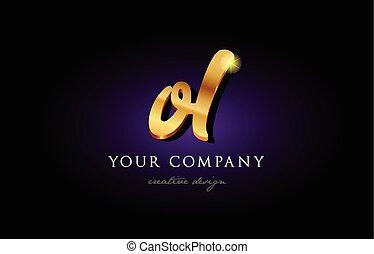 ol  o l 3d gold golden alphabet letter metal logo icon design handwritten typography