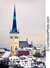 olaf, estónia, tallinn, são, igreja, vista