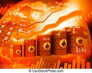olaj, ábra, esés, ár, hengerek