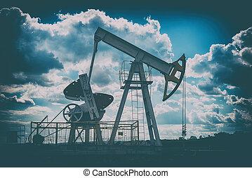 olaj, ég, felhős, sötét, retro, háttér, ruha, hanglejtés