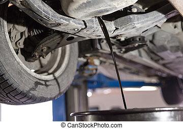 olaj, öreg, autó., gép, rendbehozás, cserél, service.