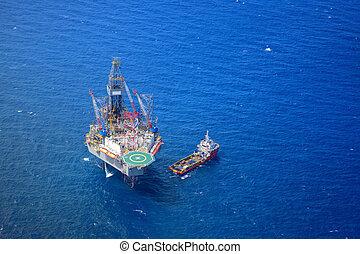 olaj, aircraft., tető, fúrás berendezés, part felől, kilátás