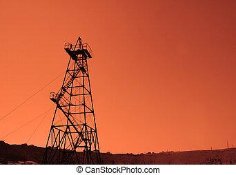 olaj, baku, -, azerbajdzsán, fúrótorony, napnyugta, közben