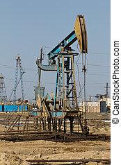 olaj, baku, mező, , félsziget, azerbajdzsán, fúrótorony, absheron