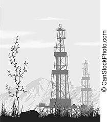 olaj berendezés, felett, hegy, range.