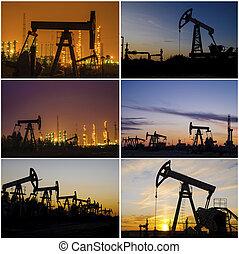 olaj berendezés, finomító, napnyugta, fúrótorony, közben, oilfield., wellhead