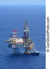 olaj, beszerzés, fúrás, part felől, ruha, lejtő, csónakázik, kilátás