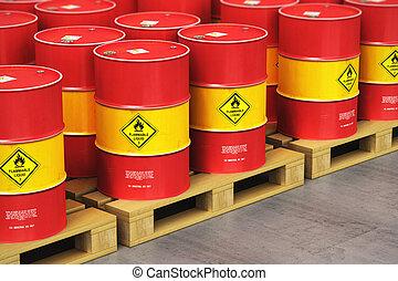 olaj, csoport, paletták, tárolás, hajózás, dobok, raktárépület, piros