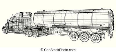 olaj, driving., alkotott, nagyon, benzin, wire-frame, gyorsan, highway., csereüzlet, ábra, 3d., kúszónövény, tartálykocsi
