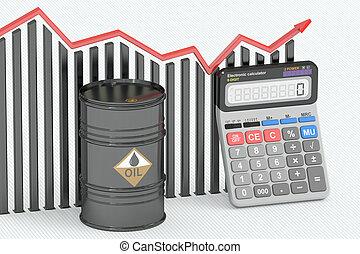 olaj, fogalom, ár, diagram, vakolás, barrel., számológép, 3