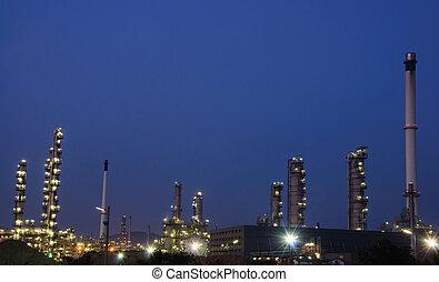 olaj, gyár, éjszaka