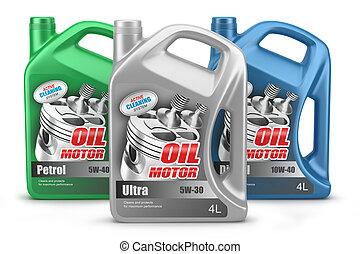 olaj, háttér, canisters, elszigetelt, állhatatos, motor, fehér