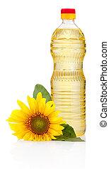 olaj, háttér, napraforgó, elszigetelt, virág, palack, fehér