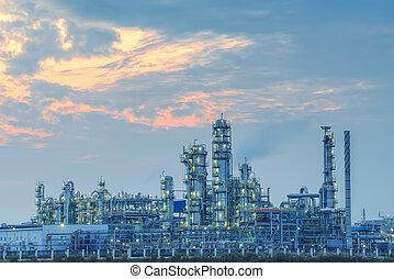 olaj iparág, feldolgozás, gáz, factory., táj