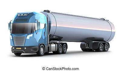 olaj, kép, elszigetelt, tartálykocsi, truck., 3
