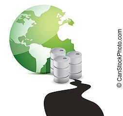 olaj kiloccsant, felett, bolygó, háttér, fehér