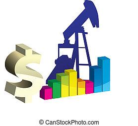 olaj, művészet, vektor, pumpa