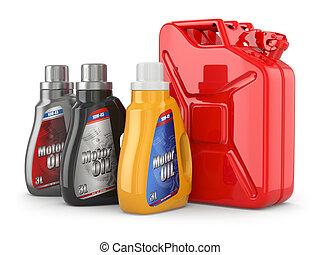 olaj, motor, gas., benzin, dobozba csomagol, jerrycan, vagy