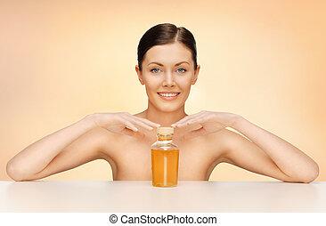 olaj, nő, palack