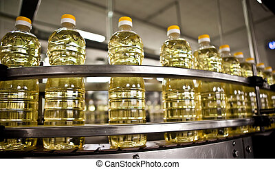 olaj, napraforgó, dof., sekély, megtölt., termelés, mozgató, palack