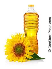 olaj, napraforgó, elszigetelt, virág, palack, fehér