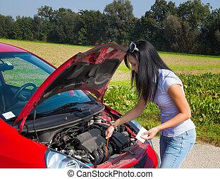 olaj, neki, autó, lépés, kényszer, nő
