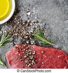 olaj, nyers steak, peppercorns, olajbogyó, izomerő, só, tenger, rozmaring