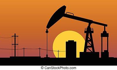 olaj, opec, pumpa orrárboczászló, éretlen, táj