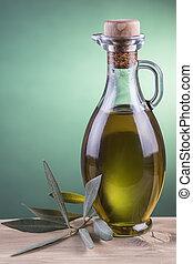 olaj, palack, háttér, olajbogyó, reflektorfény, zöld